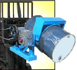 "Forklift Drum Carriers - EHD w/ 3PC Drum Holder Heavily Reinforced convert your fork truck into a drum handler that allows fork truck operator to lift, transport, rotate and pour a heavy 22.5"" diameter 55-gal. steel drum. Pull-chain loop allows drum tilt control from the driver's seat of your fork truck with 20' chain loop (10' drop). It is also equipped with a worm gear speed reducer."