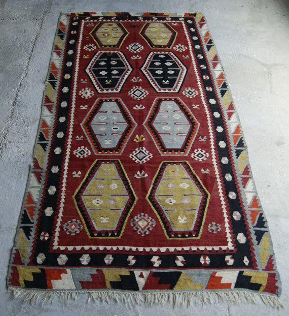 5'1''x9'7'' Zara Kilim Rug  Turkish