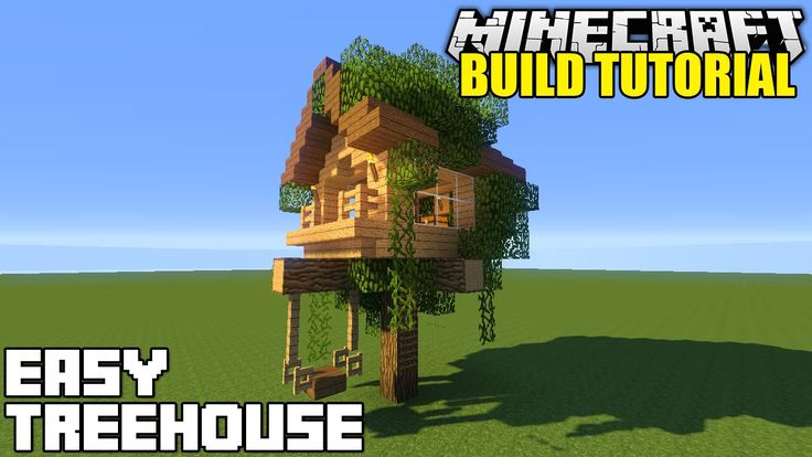 Minecraft how to build a treehouse tutorial simple for How to build a simple treehouse