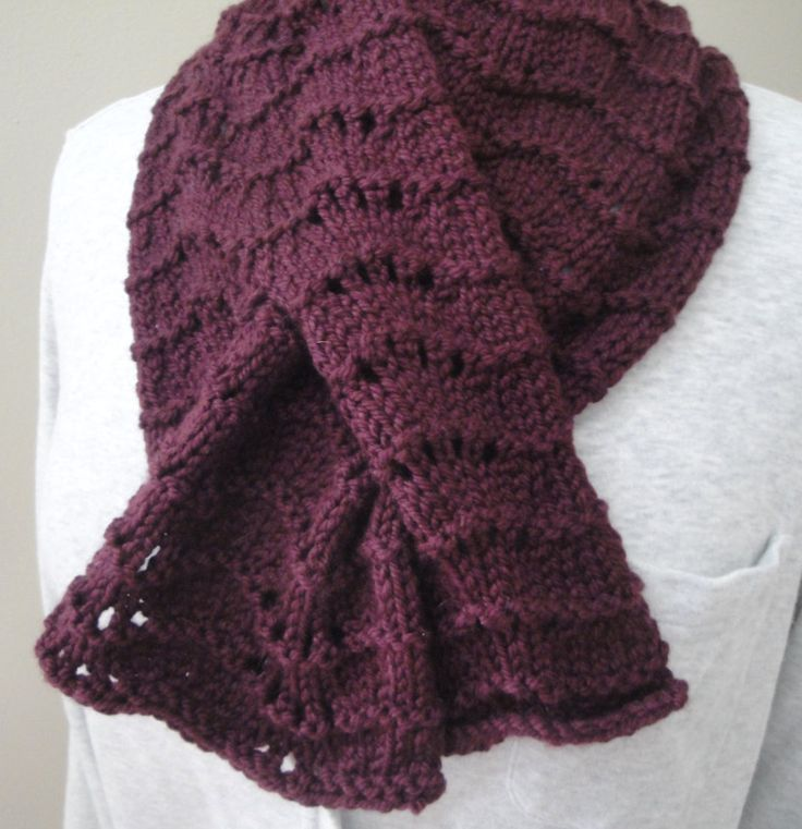 Knitted Keyhole Scarf Pattern : 414 best images about Scarf & Cowl Knitting Patterns on Pinterest Easy ...