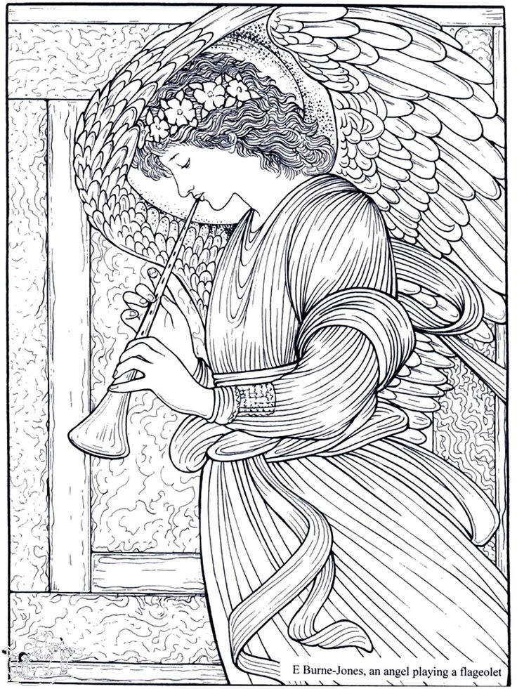 free coloring page coloring adult burne jones an angel playing