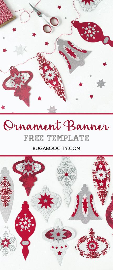 DIY Vintage Ornament Banner for the holidays with Free Template