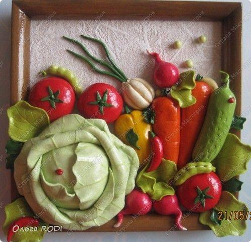 Картина панно рисунок Лепка Снова овощи домовёнок в кладовке и лимончики Тесто соленое фото 1