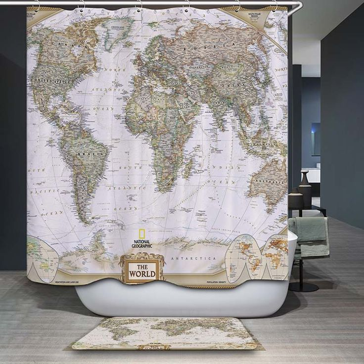 decorUhome Polyester Waterproof Vintage World Map Elephant Shower Curtain Bathroom Curtains 12 Hooks Mildewproof Bath Curtain