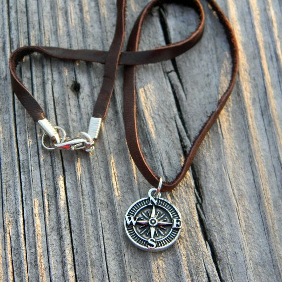 Men's leather cord necklace simple rustic by SongbirdCabinDesigns