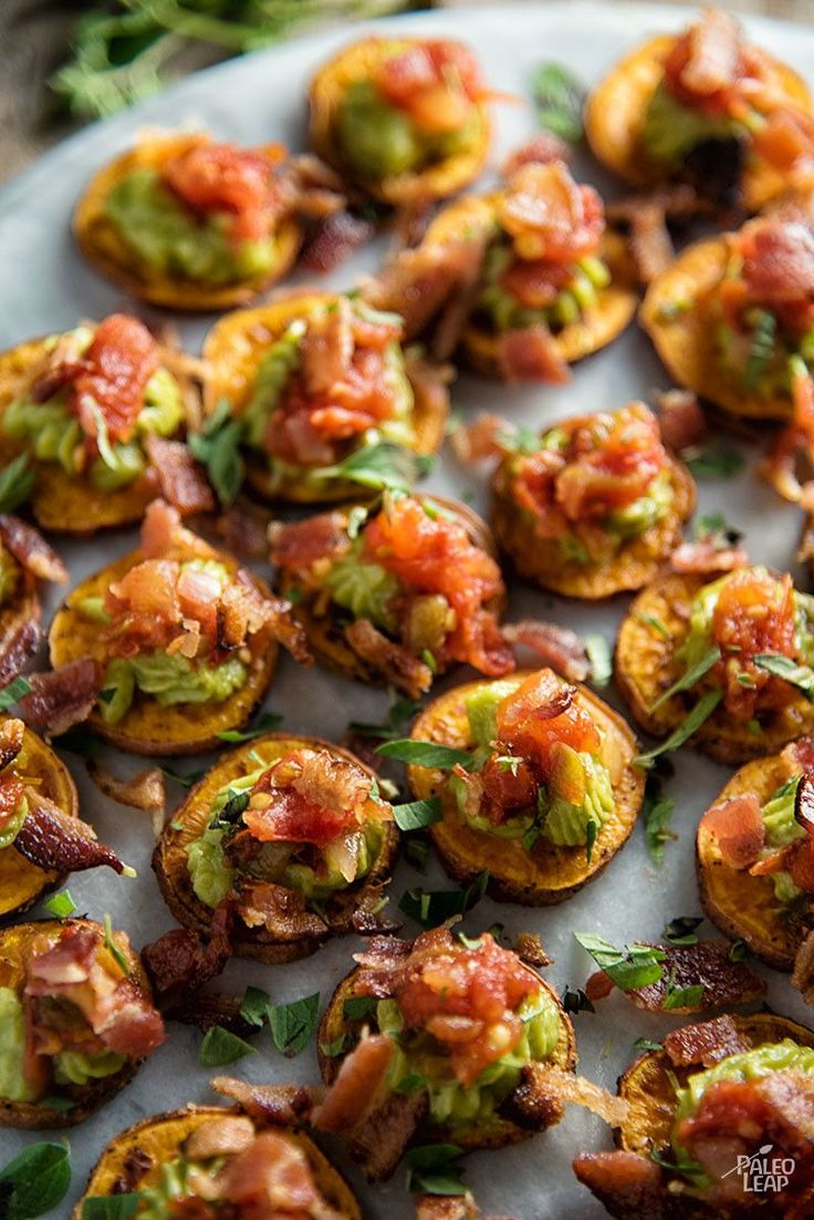 These colorful bites of roasted sweet potatoes, salsa, guacamole, and bacon are nutritional winners that your taste buds will love.