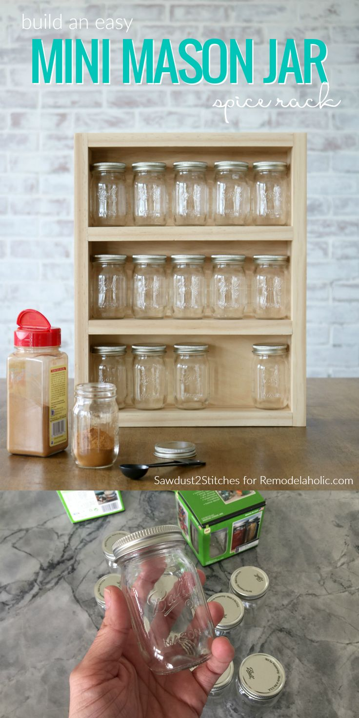 Obsessed with glass mason jars? Build this easy DIY spice rack that features 15 mini mason jars for holding kitchen basics or craft supplies like buttons, thread, or homemade chalk paint or stain.