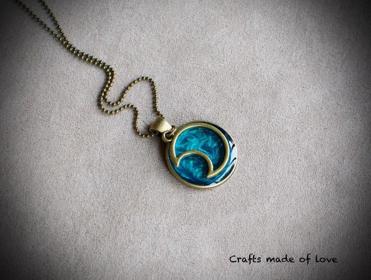 Turquoise sky & moon pendant by CraftsMadeOfLoveShop on Etsy https://www.etsy.com/nz/listing/450019736/turquoise-sky-moon-pendant
