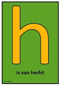 Letter h en woordkaarten herfst