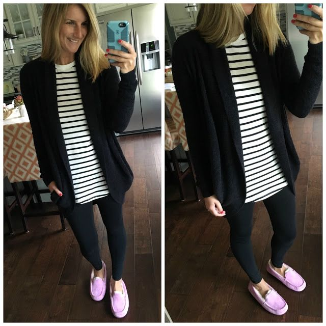 Living In Yellow:  Barefoot Dreams Circle Cardigan + BP Striped Shirt + Zella Regular Leggings + UGG Ansley Slippers