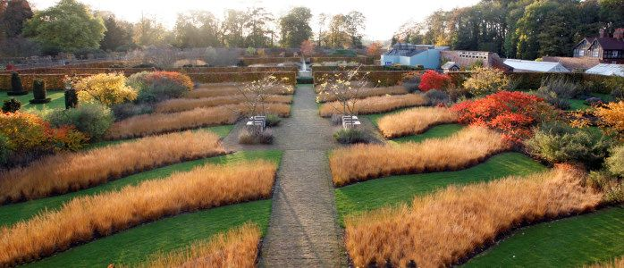 Scampston Walled Garden, swathes of Molinia looking stunning.  A garden not to miss in the autumn.