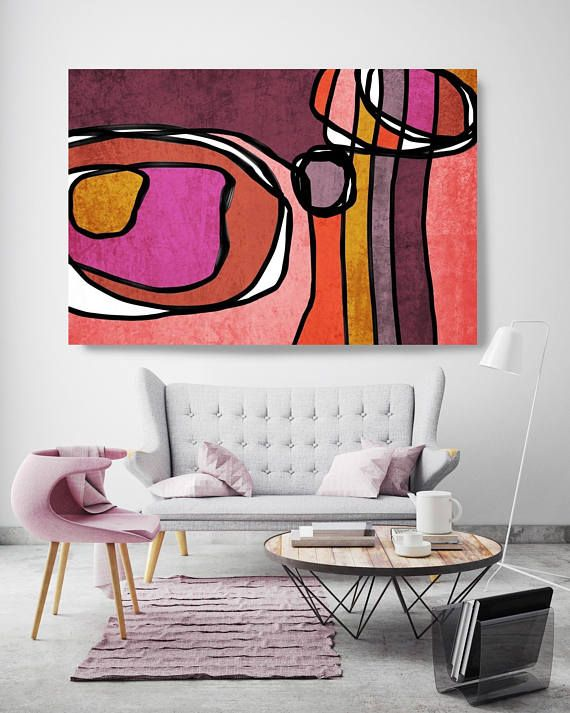 Vibrant Colorful Abstract-0-66. Mid-Century Modern Red Pink Canvas Art Print, Mid Century Modern Canvas Art Print up to 72″ by Irena Orlov