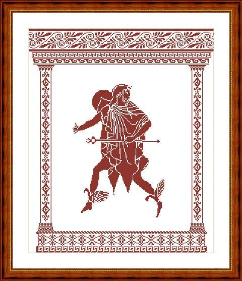 Only pattern/ Cross-stitch pattern mythology Hermes scheme of Greek ornament This scheme is made on the basis of ancient Greek images of Hermes