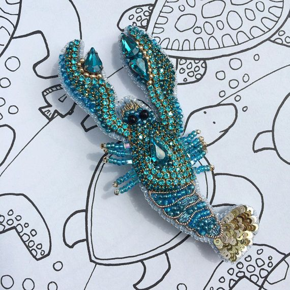 Lobster brooch cancer jewelry zodiac sign summer outdoors beach party beads crystal jewelry marine gift sea creature brooch ******************** When I made this unique lobster brooch, i was inspired by the sea, the rustling of waves, the purest sea air and summer. Blue lobster is a noble sea creature. It is embroidered from crystals, sequins, Japanese beads, gimp and gold thread. Unique designers jewelry is a beautiful gift for mom, gift for wife, gift for anniversary, gift for sister…