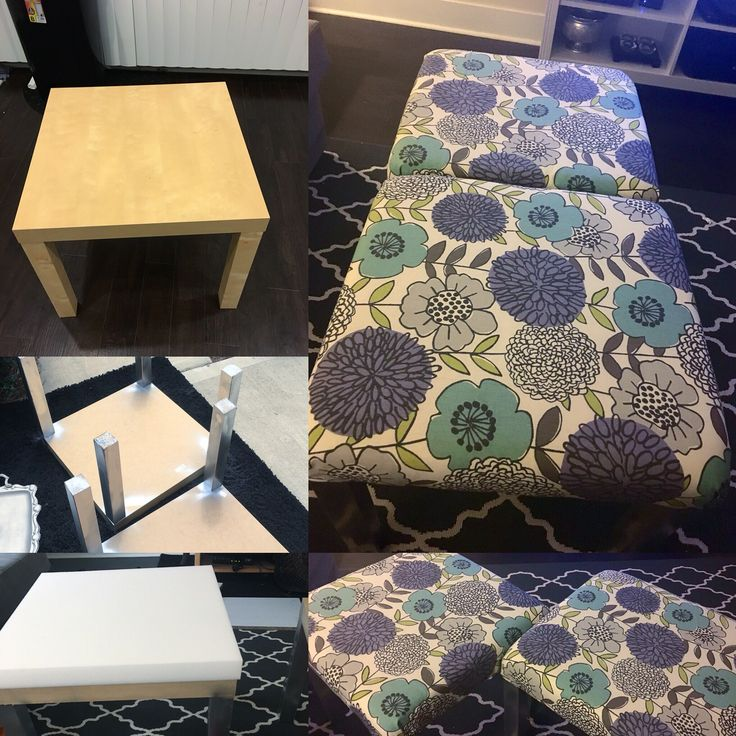 Ottomans from IKEA lack side tables  #diy #craftymccrafterson