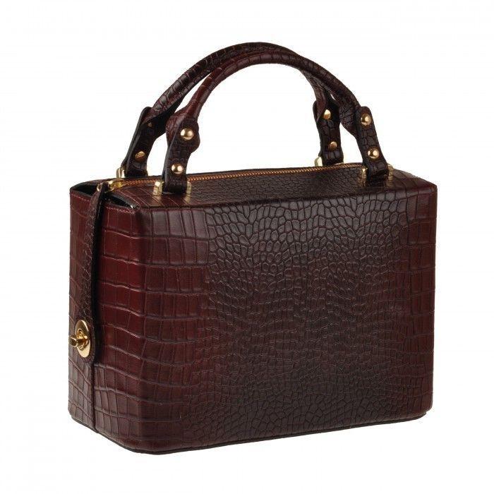 Emilio Masi borsa donna in pelle con manici italian leather handbag bauletto