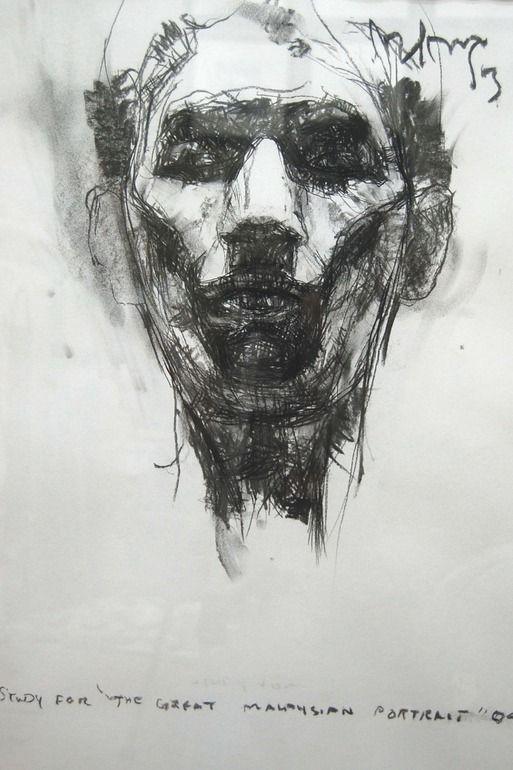 Portrait, 2011, Hairi Yaakub, charcoal on paper, 23.4 x 17.5 in., KUala Lumpur, Malaysia
