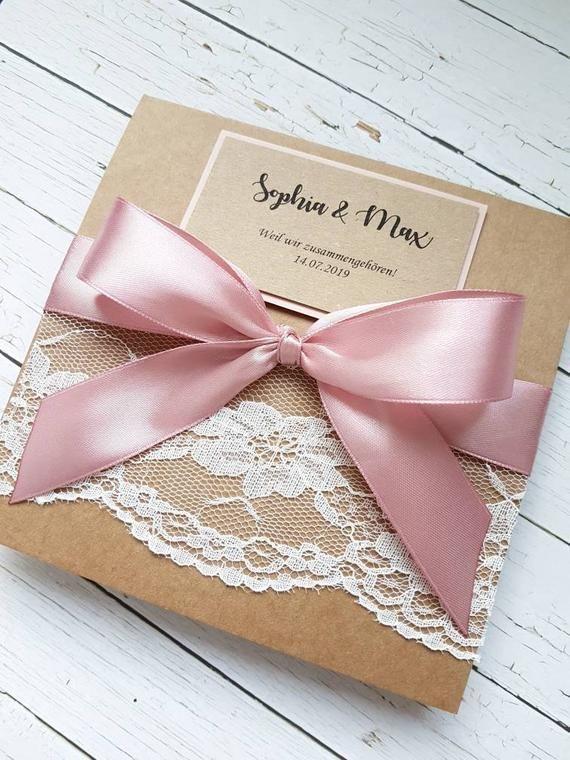 10x Hochzeitseinladungen Kraft Mit Altrosa Band Spitze Pocket Einladungen Zur Hochzeit Hochzeitskarten Hochzeitspapeterie Vintage Gift Wrapping Gifts Kraft