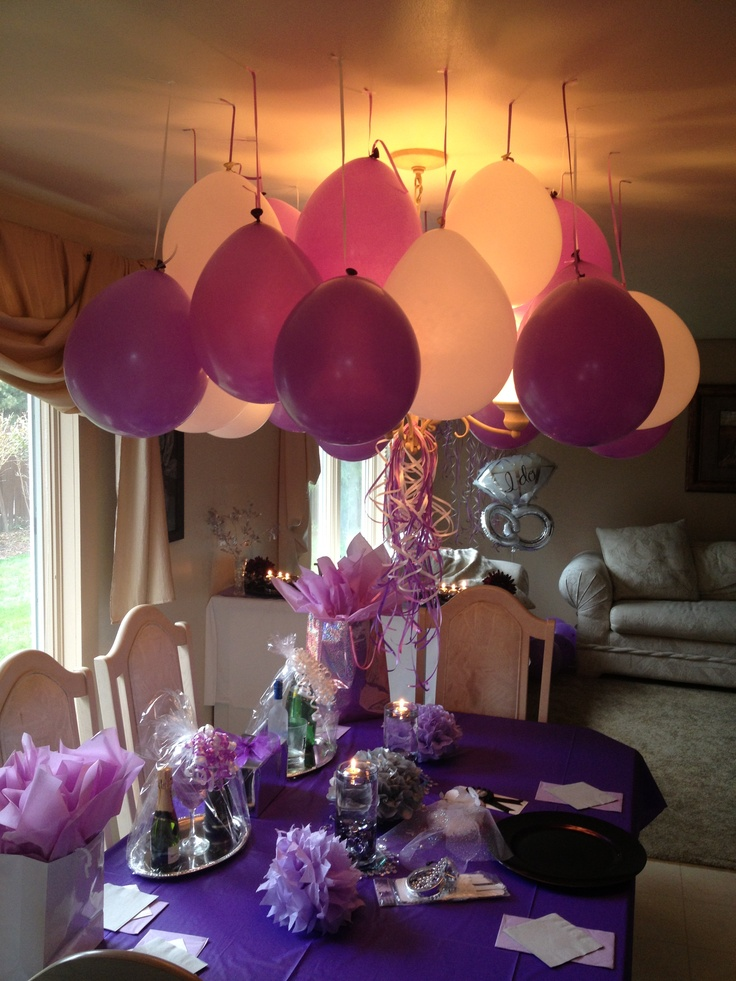 Mini engagement party purple white silver decor cute for Bed decoration with balloons