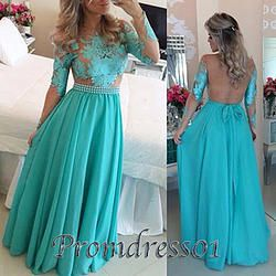 #promdress01 prom dresses - elegant blue lace chiffon backless long sleeve see through senior prom dress, ball gown, cute dresses for teens #coniefox #2016prom