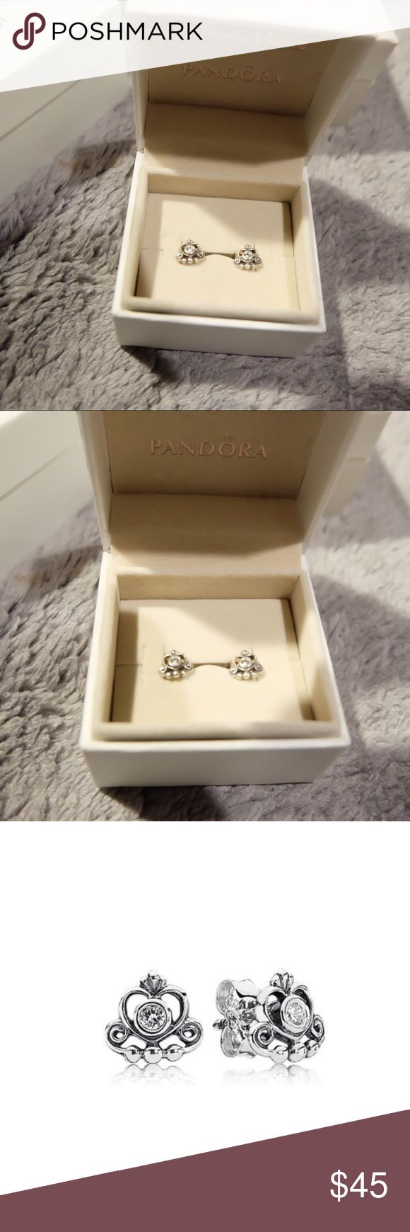 SALE! ✨ Pandora princess earrings 💜 Pandora princess earrings. Pretty, silver in color. Used but in really good condition. 💜 Pandora Jewelry Earrings