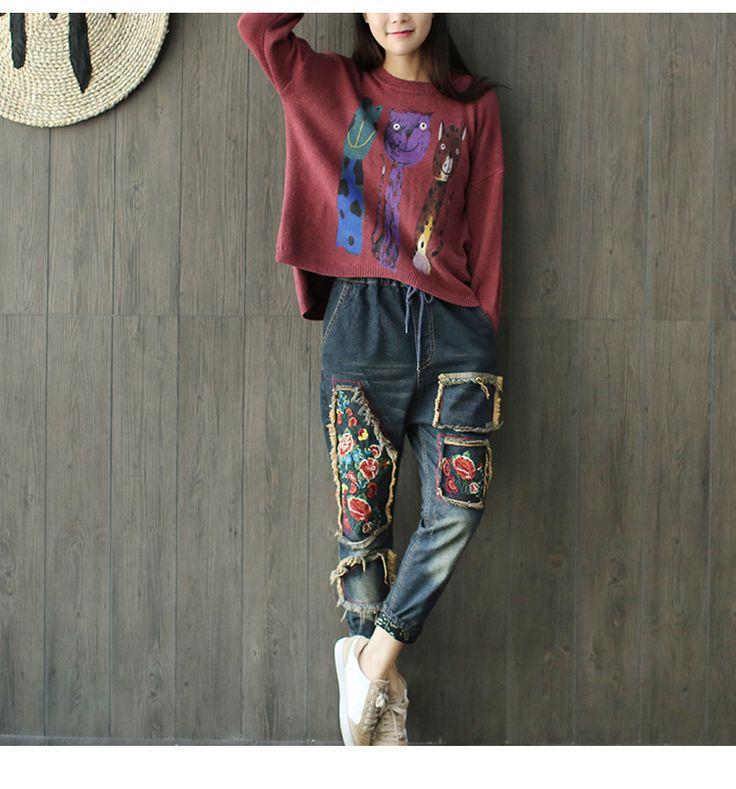 Harajuku Vintage Hippie Boho Denim Pants Cowboy Loose Jeans Hiphop Loose Wide Leg Women Trousers Harem Pants Pantalones Mujer