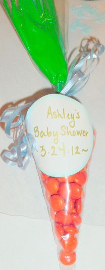 Carrot party favor for a Peter Rabbit baby shower