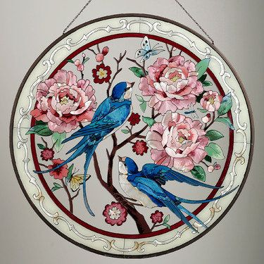 Swallows and Peony Stained Glass Window Art Panel