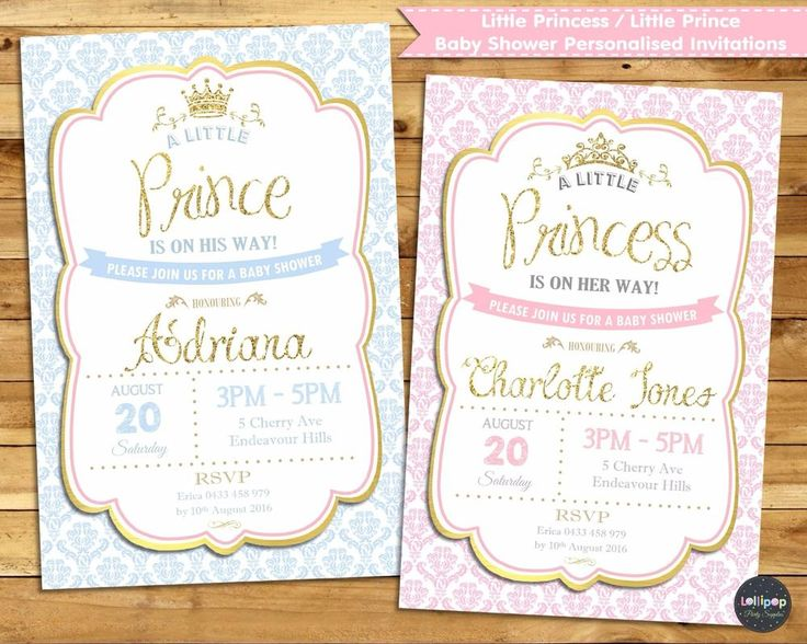 LITTLE PRINCESS / PRINCE BABY SHOWER PERSONALISED INVITATION CARD - SHIP WORLDWIDE - DIGITAL FILE AVAILABLE.