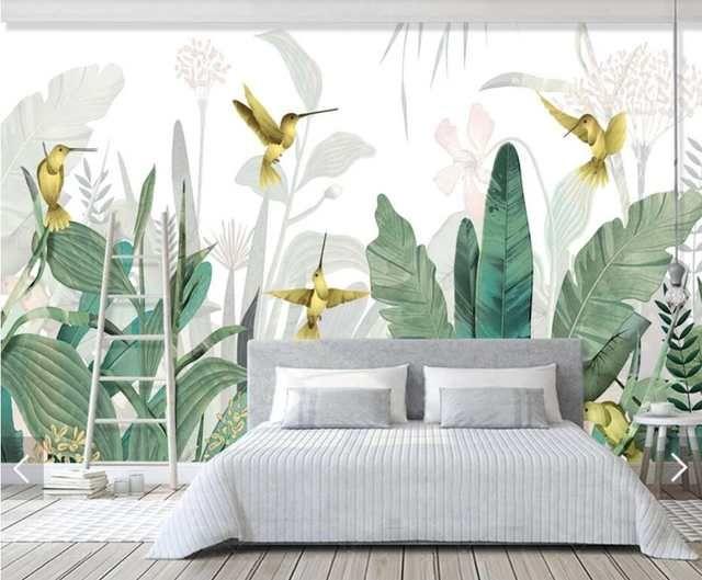 3D Tropical Banana Blätter Vogel Tapete Wandbild für Wohnzimmer Wand