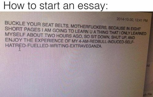 "This inspired opening statement. | 18 Jokes That'll Make You Say ""Same"" If You've Ever Written An Essay"