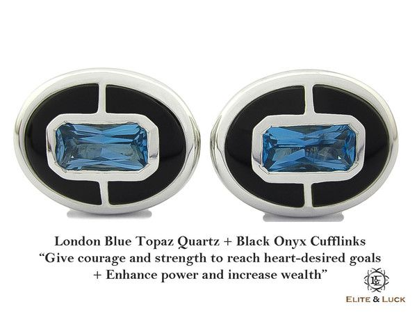 """London Blue Topaz + Black Onyx Sterling Silver Cufflinks, Rhodium plated, Prestige Model  *** Very Exclusive *** """"Give courage and strength to reach heart-desired goals + Enhance power and increase wealth"""" *** Combine 2 Gemstone Powers to double your LUCK ***"""