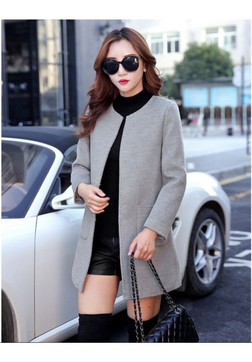 Complete your winter look with this grey coat