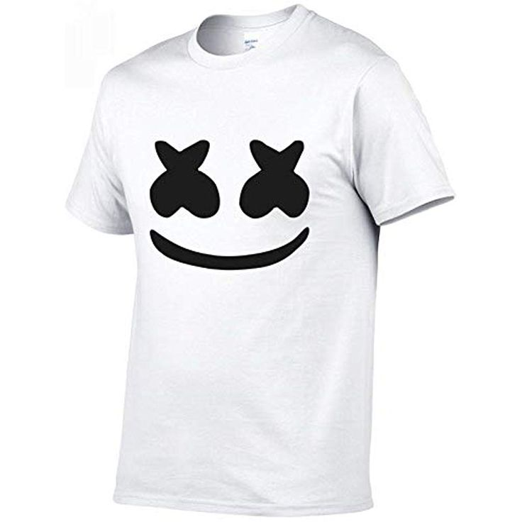 GYXIN T-Shirts Männer Drucken Lustiges Marshmello Gesicht T-Shirt Kurzarm Läss…
