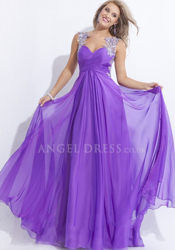 Floor Length Chiffon Straps A line Sleeveless Natural Waist Prom Gowns