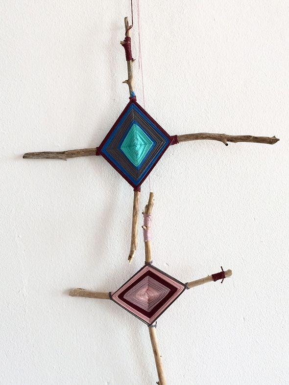 gods eye gottesauge ojo de dios wolle stöcke wool lana kids kinder manualidad ornament craft