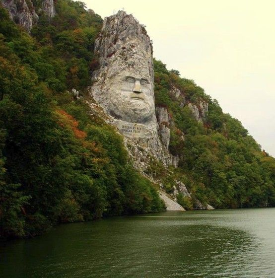 Statue of King Decebal on the Danube River, Romania.