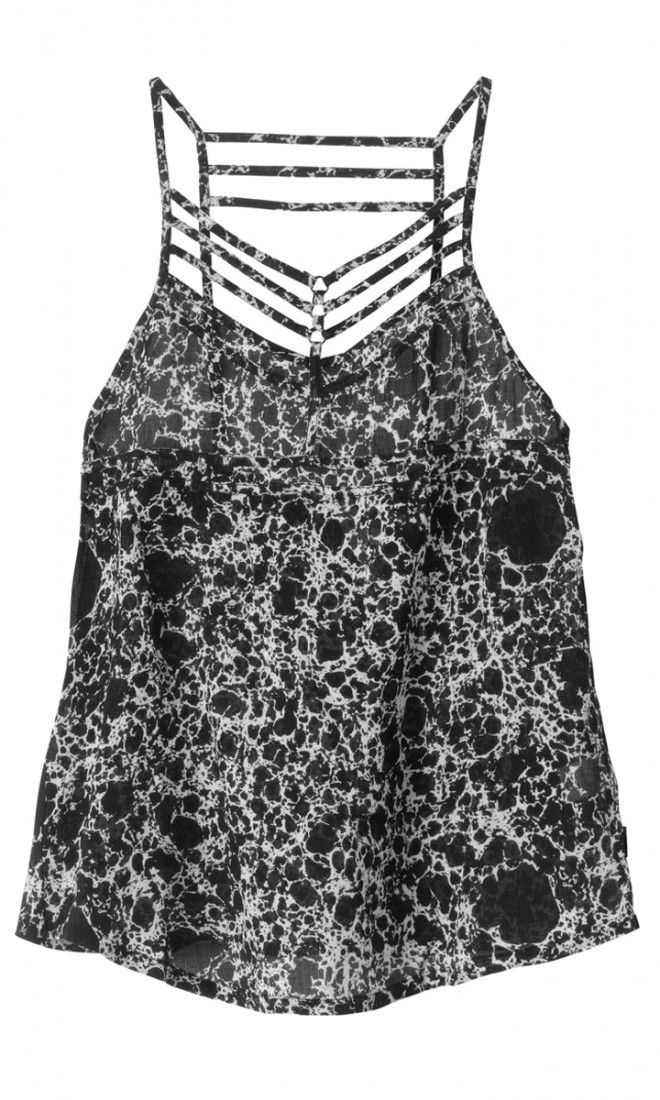 The Younger Days Tank by RVCA has a strappy detail in the front and back