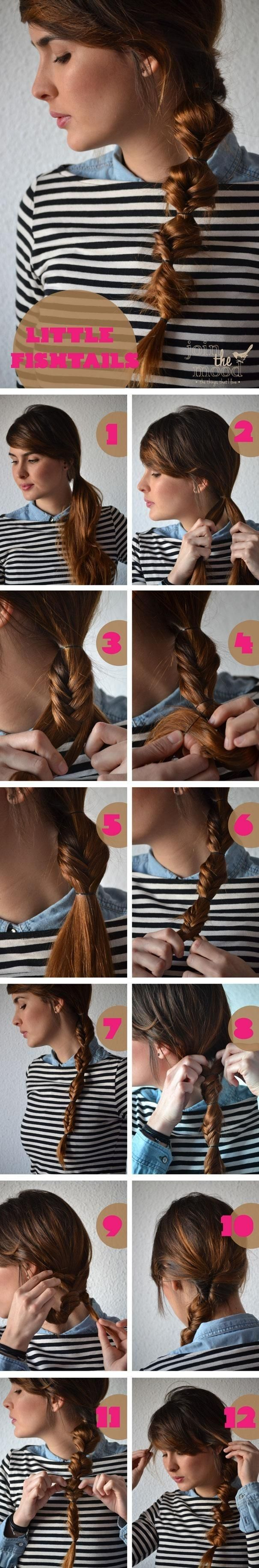 This is twisted braided hairstyle. It is effortless to recreate it. Create the air into a low ponytail at one side and divide it into two even parts. Braid the two parts one by one. Twist the finished braids tightly. Fix the hair ends with a clear elastic band.