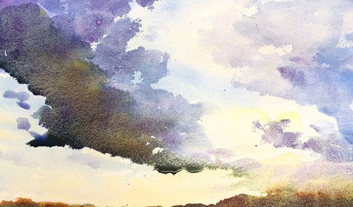 How To Make Sunset Clouds Watercolor Painting The Art 123
