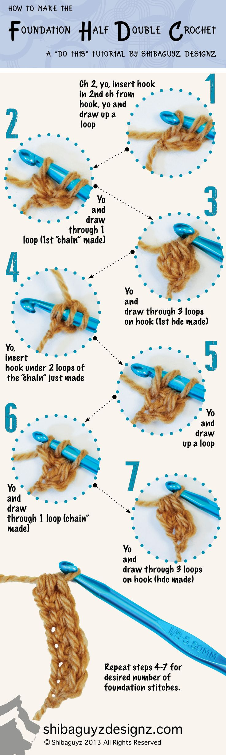 Technique :: Foundation Half Double Crochet stitch  . . .  ღTrish W ~ http://www.pinterest.com/trishw/  . . .