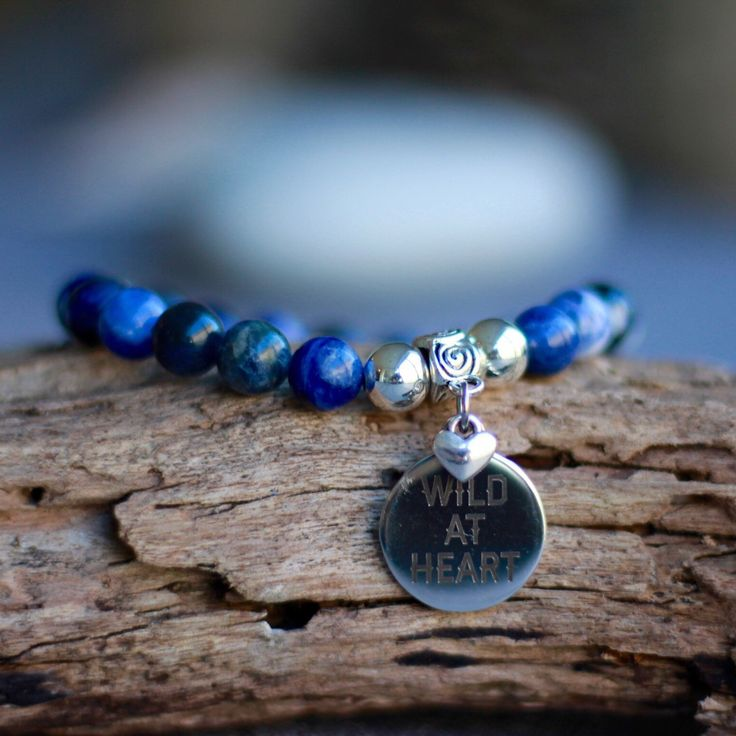 Sodalite gemstone & stainless steel laser charm  Wild at the heart 💙
