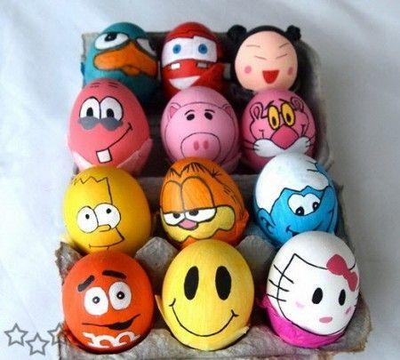 Actividades para niños en las vacaciones de pascua, decorar huevos de pascua con divertidos personajes famosos y de las series de dibujos animados