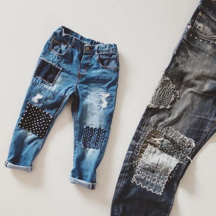 "Reposting @sashikodenim: ... ""- - - His favorite little big boy jeans - - - #sashikodenim #handstitched #denimart #denimhead #repairart #repairdontreplace #kidsfashion #slowwear #slowmade #slowlife"""