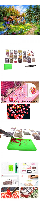 New Arrival 5D DiySquare Diamond Painting Warm House Kit DIY Set Embroidery Rhinestone Home Decor Needlework with Paper Bag $21.99