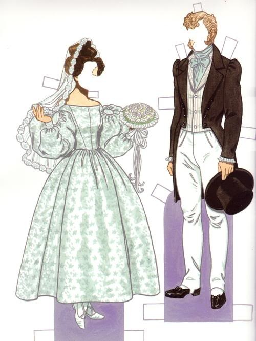 """Bride & Groom 1830s*1500 free paper dolls at Arielle Gabriel""""s The International Paper Doll Society and free Chinese Japanese paper dolls at The China Adventures of Arielle Gabriel *"""