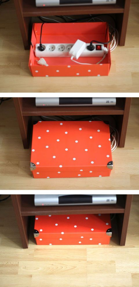 When all else fails, use a box to keep a power strip and chargers organized but far from view. (It's the easiest —and prettiest —solution.) If you store this box near your media center (as you should!) you can add plug for your TV and lamps, too. Click through for more on this and other phone charging station ideas.