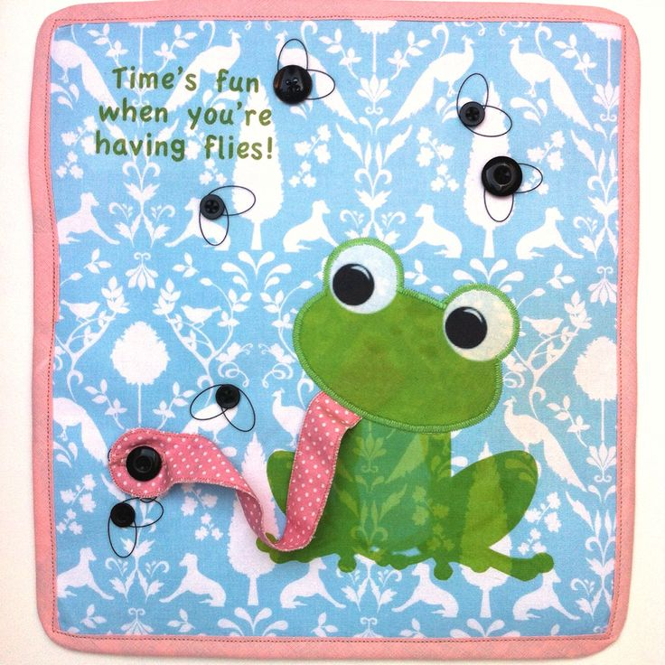 Quiet book page: Frog and flies