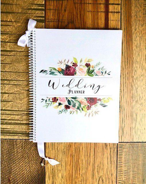 Custom Wedding Planner Book Planning Guide Engagement Gift Organizer Bouquet In 2018