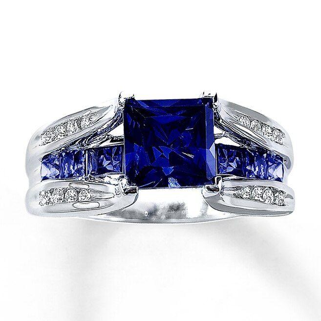 Lab Created Sapphire Ring 1 8 Ct Tw Diamonds 10k White Gold Gold Sapphire Ring White Gold Rings Blue Sapphire Rings